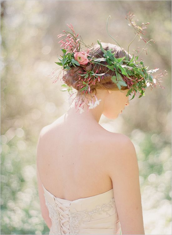 updo wedding hairstyles with flower crown