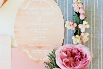 shade of blush wedding invitation