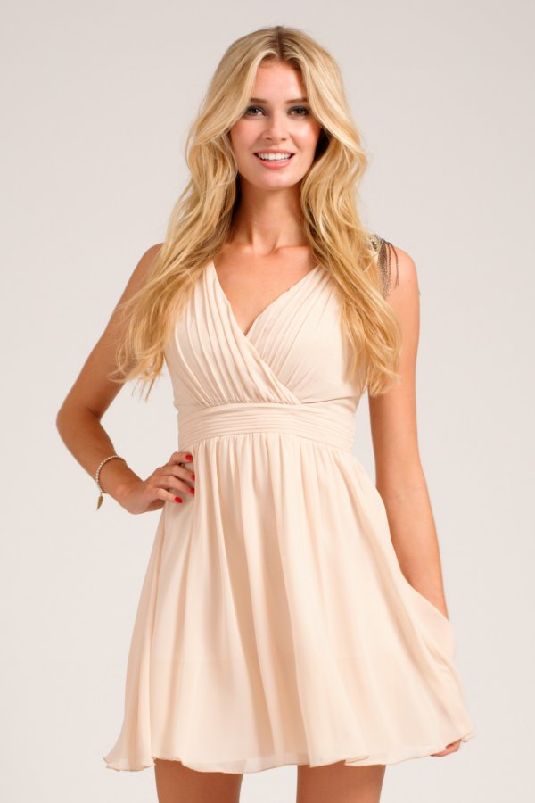 Embellished Cross Over Dress From Little Mistress,blush bridesmaid dress,short blush bridesmaid