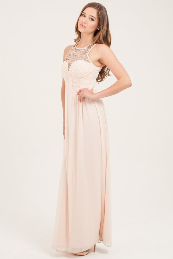 Blush Embellished Maxi Dress from Little Mistress,blush bridesmaids