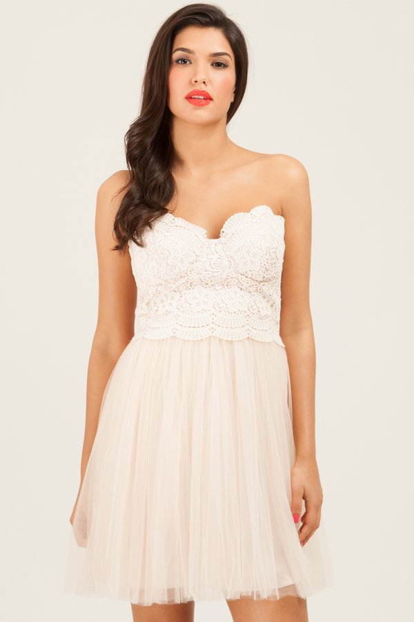 Strapless Floral Lace Dress from Little Mistress,blush bridesmaids,blush bridesmaid