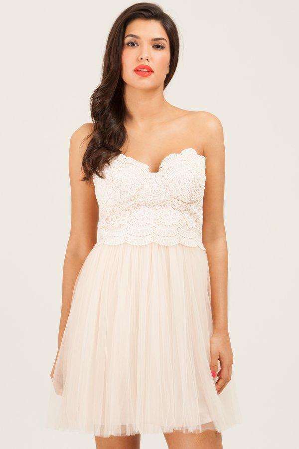 Strapless Floral Lace Dress from Little Mistress,blush bridesmaids,blush bridesmaid