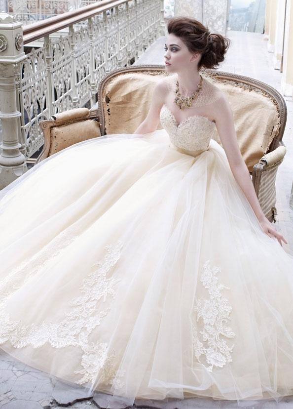 lazaro tulle ball gown wedding dress ideas