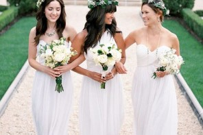 White wedding trends – White bridesmaid dresses