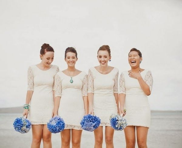 Lace short white bridesmaid dresses for beach wedding | fabmood.com
