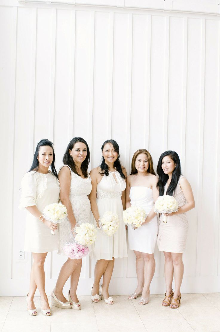 white wedding trends - White bridesmaid dresses