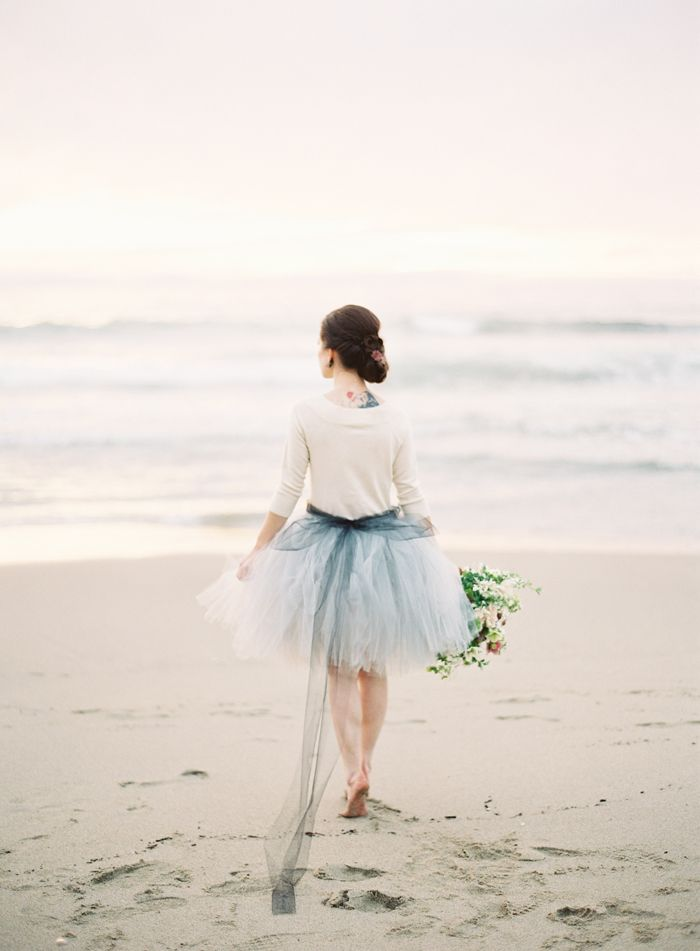 Beach wedding ideas dusty blue beach wedding for Blue beach wedding dresses