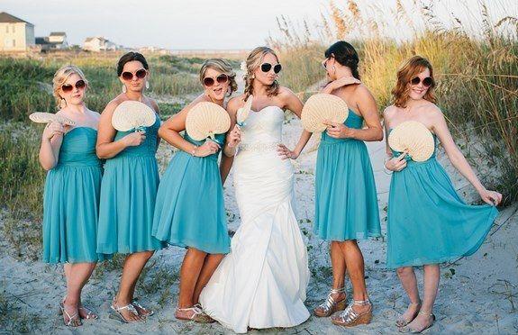 Turquoise beach bridesmaids beach dresses