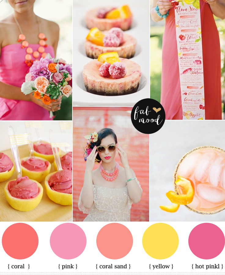 Coral pink and yellow,Citrus Wedding,Summer wedding