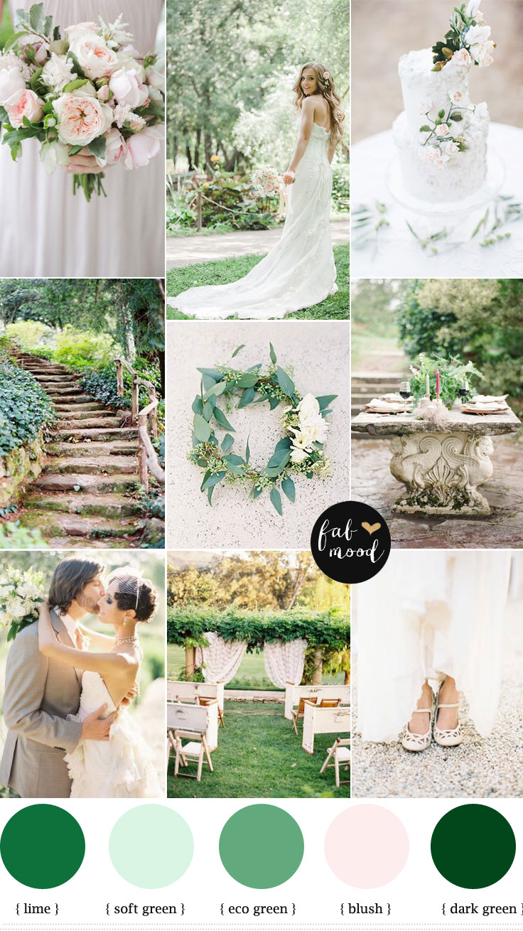 Natural garden wedding theme shades of green blush for Best wedding colour themes