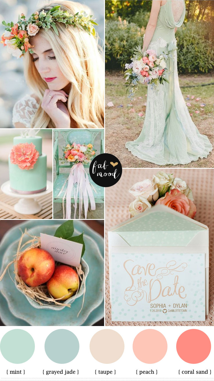 Wedding Colours Palette Inspiration Color Mint Peach And C