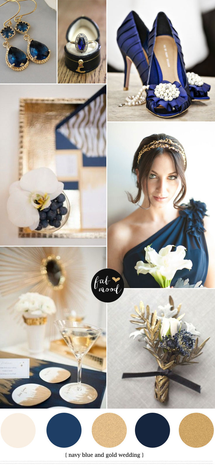 Navy blue and gold wedding colours palette