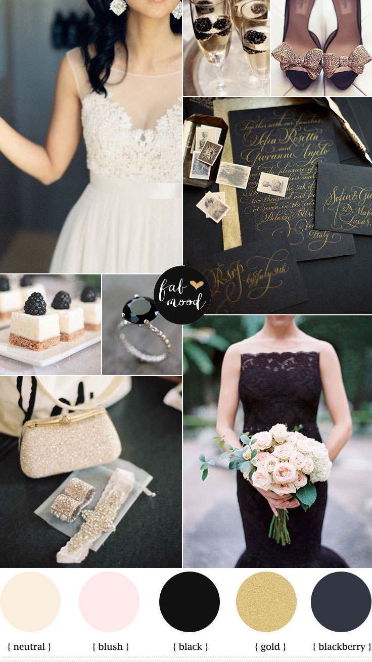 Blackberry gold and white wedding { hint of blush }