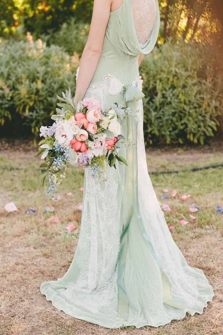 Mint green Claire Pettibone dress,wedding colours palette,wedding inspiration,wedding color palette,mint peach and coral wedding,mint peach and hint of coral wedding,mint peach and gray wedding,mint wedding ideas,mint peach wedding,mint coral wedding ideas