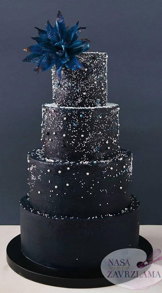 dark blue wedding cake, elegant wedding cake, navy blue and silver wedding cake