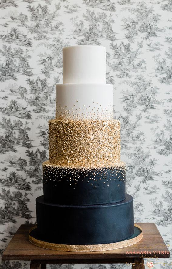 dark blue wedding cake, elegant wedding cake, navy blue and gold wedding cake