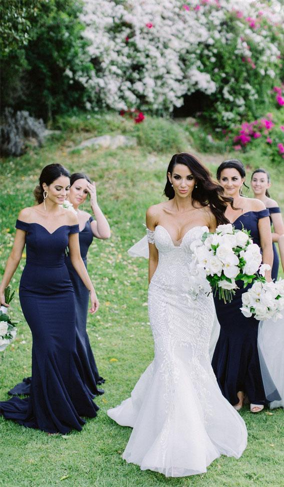 dark blue bridesmaid dresses, off the shoulder mermaid bridesmaid dresses