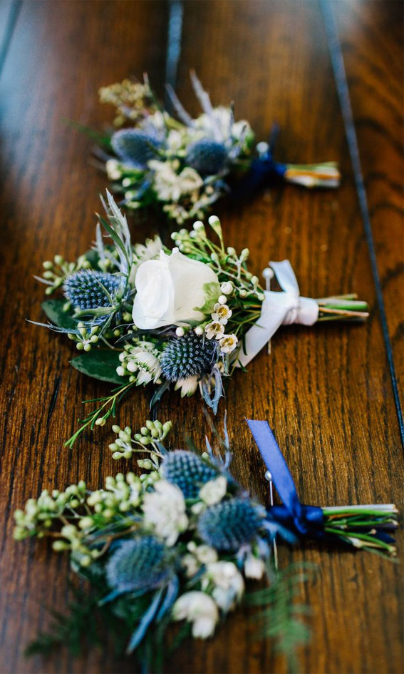 dark blue and white boutonnieres , dark blue and white wedding