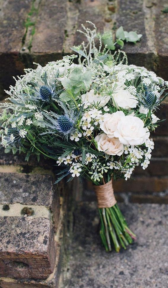 wedding bouquet, blue and white wedding bouquet