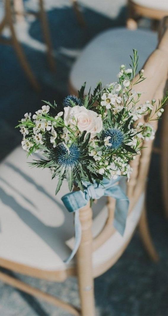 wedding chair decor, blue wedding