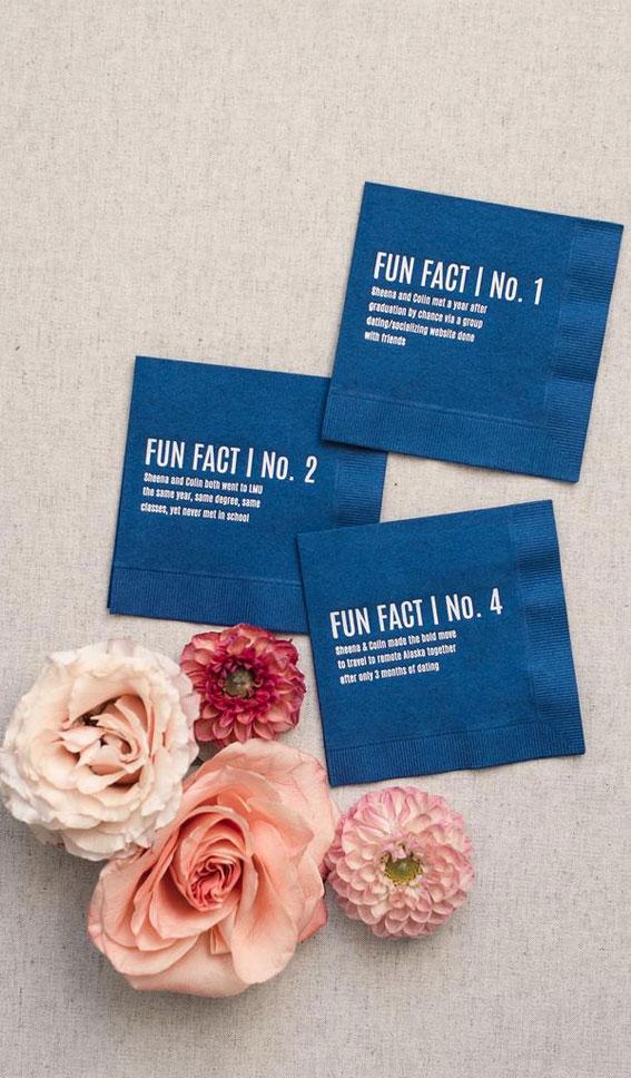 dark blue napkins, wedding ideas, fun wedding ideas