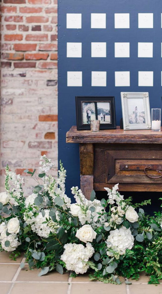 dark blue and white wedding, wedding escort card display, wedding seating chart
