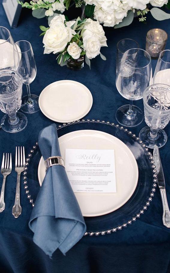 wedding place setting, dark blue and white wedding