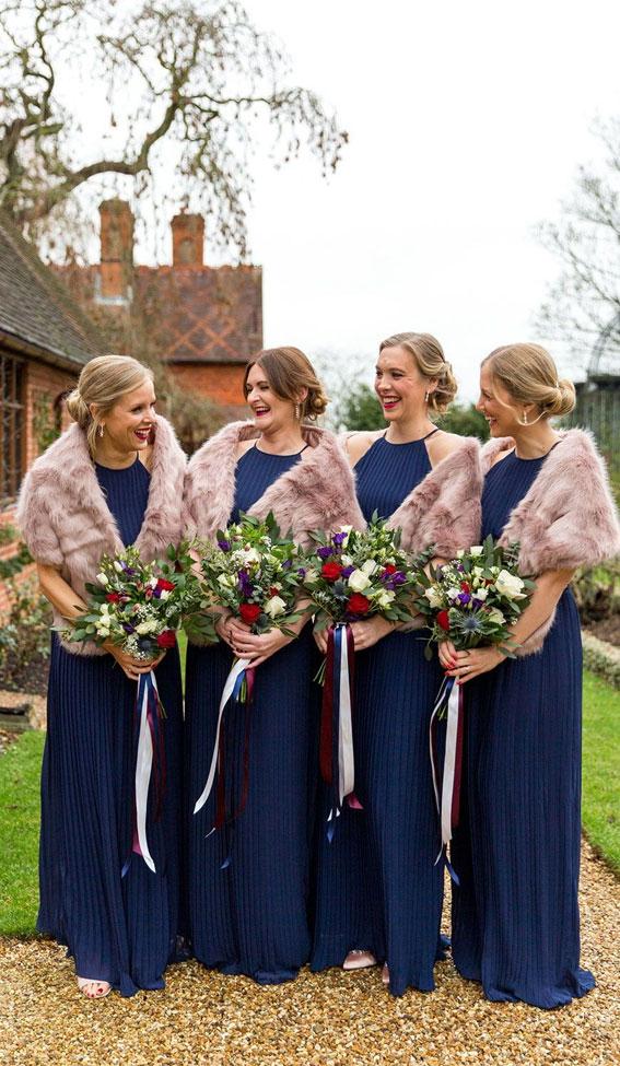 winter wedding, dark blue bridesmaids