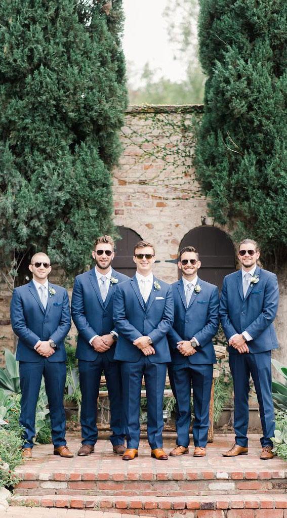 dark blue groom and groomsmen