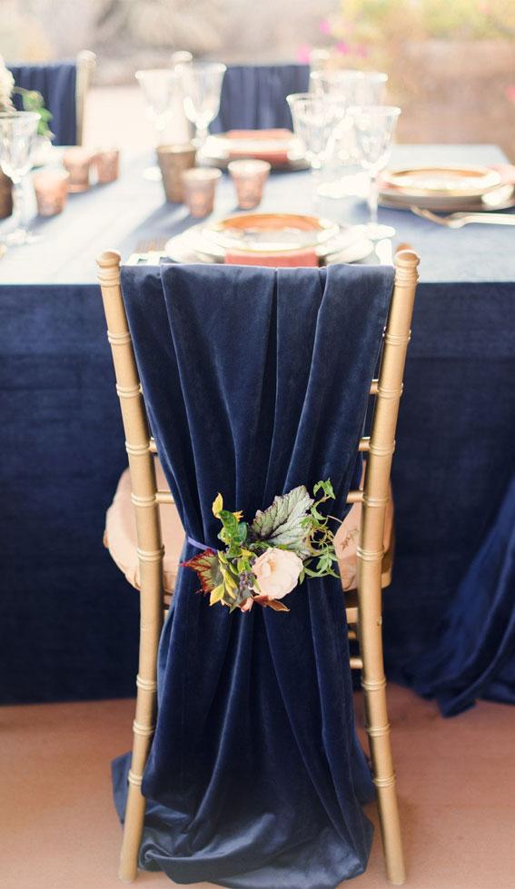dark blue wedding, dark blue and gold wedding, wedding chair decoration, wedding chair decor