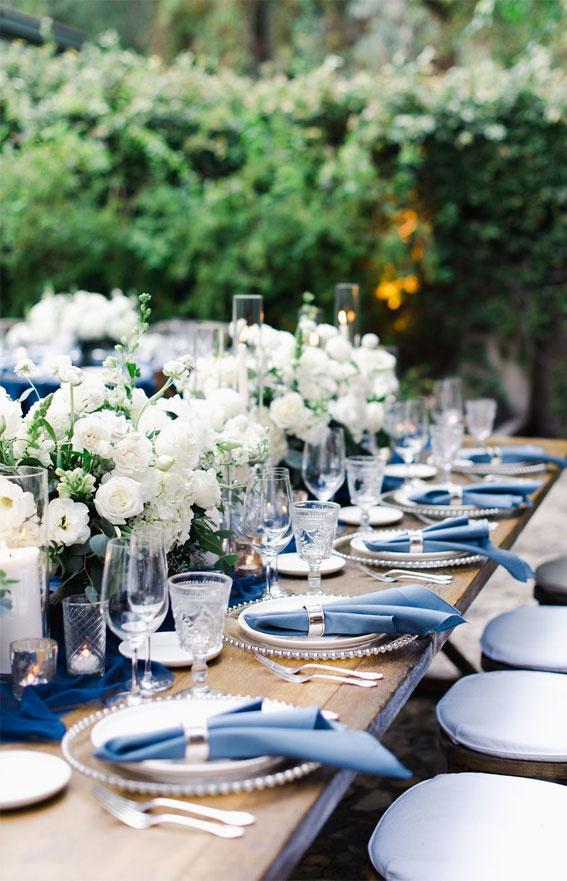 wedding table, dark blue wedding table