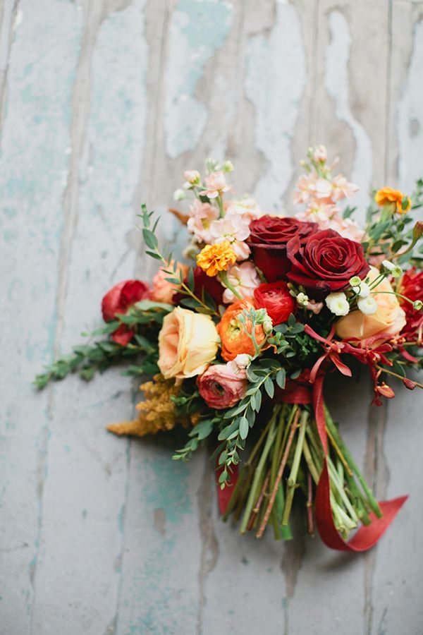 Carmin deep red wedding color fall wedding colors for Wedding bouquets for autumn