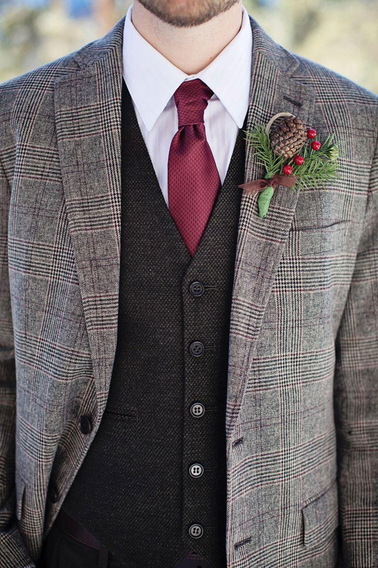 Groom Attire, Tweed, Pine Cones,groom style,