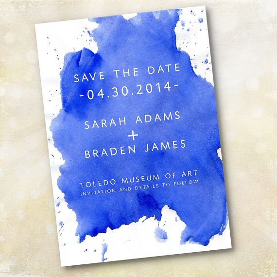 Wedding Invitation or Save the Date - Modern Cobalt Blue Watercolor ,Summer wedding colors ideas - cobalt blue and pink wedding,cobalt blue pink wedding theme,hot pink and cobalt blue,cobalt blue bridesmaid dresses,wedding colors,cobalt blue save the date