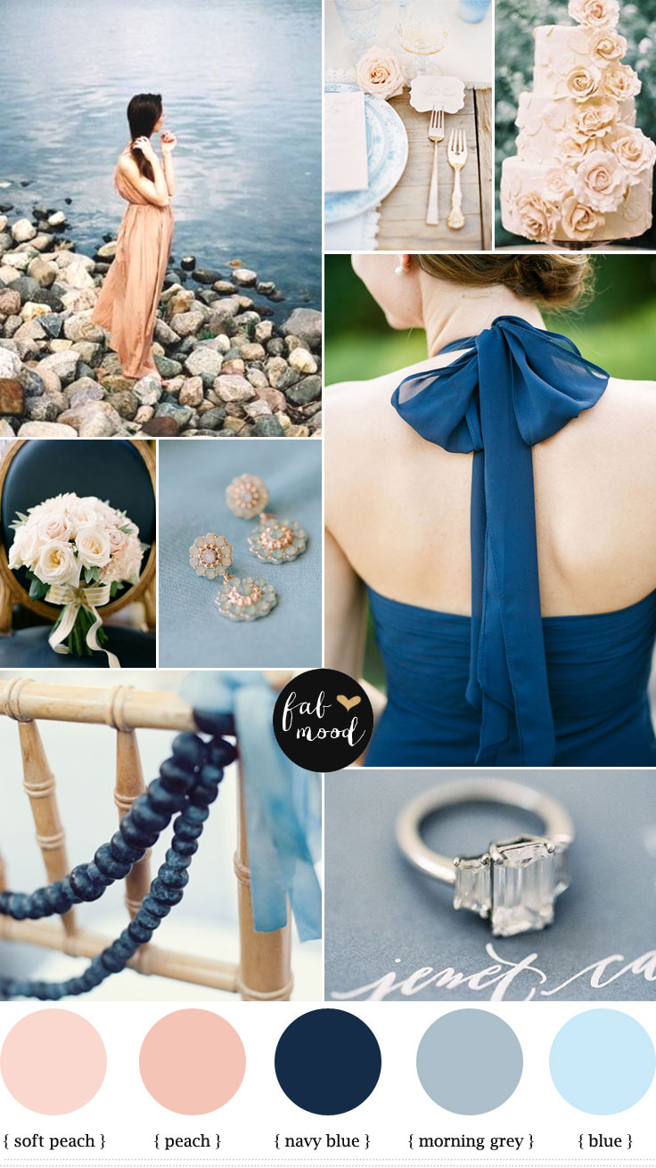 Blue Grey Navy Blue and Peach Wedding,navy blue peach wedding,blue and peach wedding colours,wedding palette,peach wedding cake,blue wedding table setting ideas,blue and peach wedding tablescape,grey navy blue wedding,grey and peach wedding