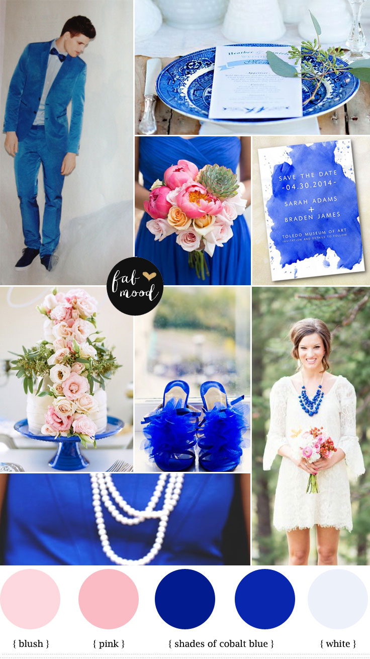 Cobalt Blue And Pink Wedding