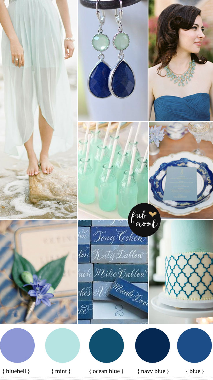 Bluebell Mint Navy Blue Wedding Beach Inspiration Ideas