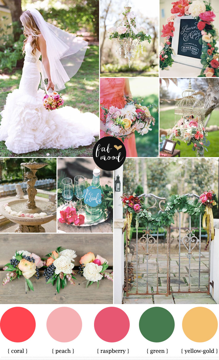 Garden Wedding Ideas,Coral and Raspberry Wedding