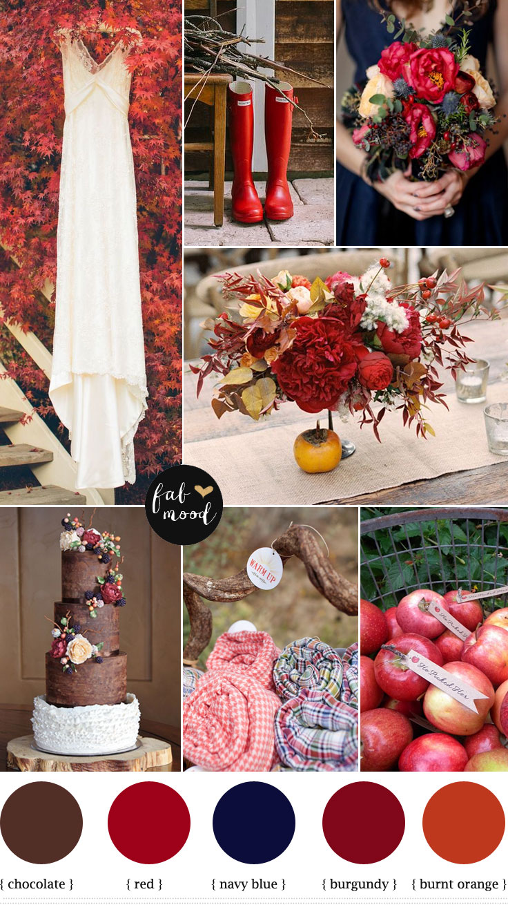 Autumn Wedding Colours Palette Burnt Orange Burgundy Navy Blue Colors