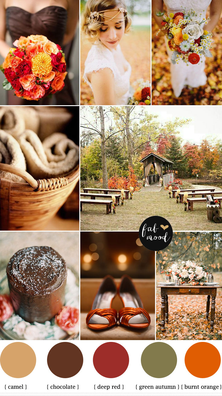 Burnt Orange Chocolate Brown Weddingautumn Wedding Colors
