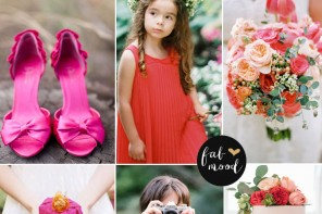 Coral pink and navy blue wedding palette