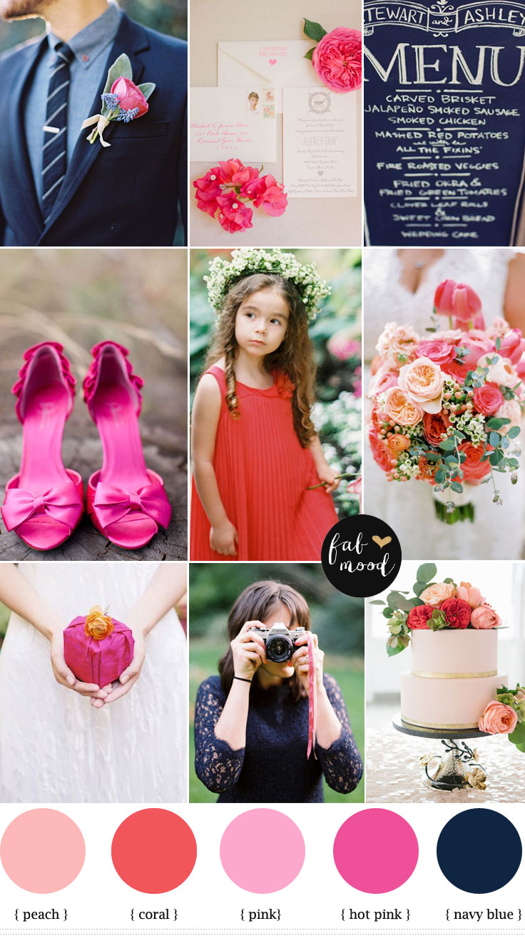 coral pink and navy blue wedding palette,summer wedding