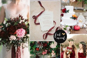 Carmine,Deep red,Indian Red,Dark Taupe : Fall Wedding Colors