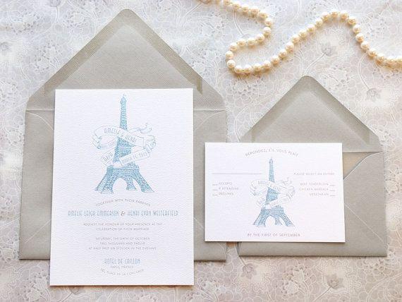 Eiffel Tower Paris Wedding Invitations - French Wedding ,Destination Wedding in paris