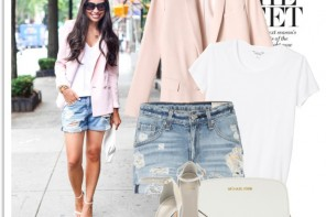 Pink Jacket and short denim Weekend style