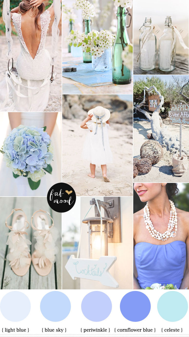 Beach wedding { cornflower blue & shades of blue }