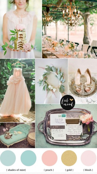 mint blush peach vintage wedding palette