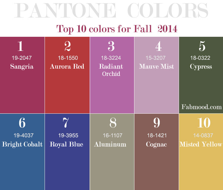 Top 10 pantone fall 2014 wedding colors junglespirit