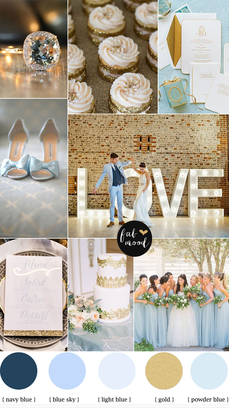 Blue and gold wedding theme baby blue and gold for Baby blue wedding decoration ideas
