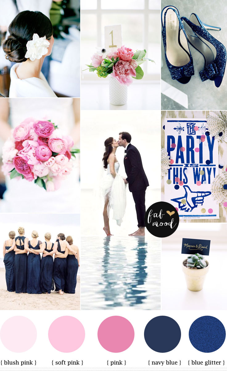 Navy Blue And Pink Beach Wedding